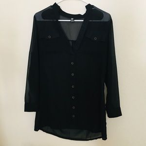 Sheer black long sleeve blouse